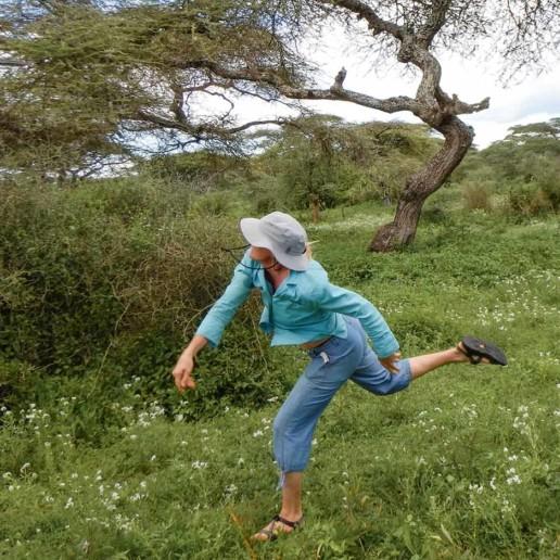 KopeLion Ingela practising throwing a spear