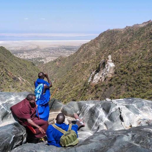 KOur Ilchokutis scouting Ingidokun at Lake Eyasi escarpment, Ngorongoro Conservation Area.