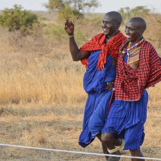 Lion guardian games in Kenya 2016. 1. To the right Ilchokuti Katakara running three legged with a Kenyan Guardian.